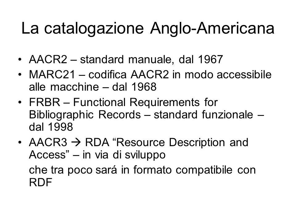 La catalogazione Anglo-Americana AACR2 – standard manuale, dal 1967 MARC21 – codifica AACR2 in modo accessibile alle macchine – dal 1968 FRBR – Functional Requirements for Bibliographic Records – standard funzionale – dal 1998 AACR3  RDA Resource Description and Access – in via di sviluppo che tra poco sará in formato compatibile con RDF