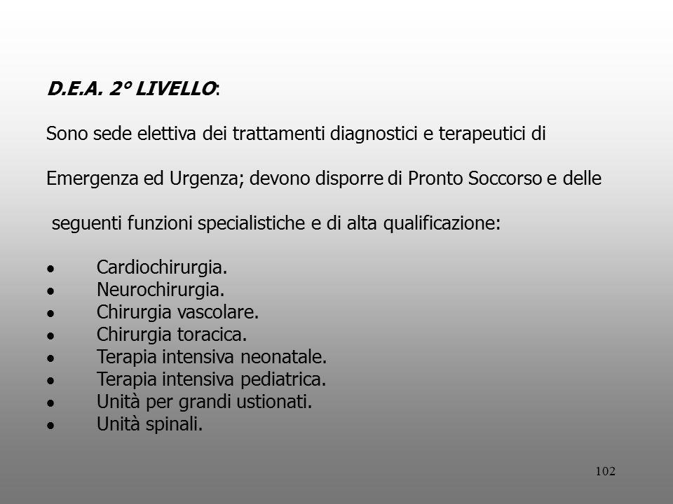 102 D.E.A. 2° LIVELLO: Sono sede elettiva dei trattamenti diagnostici e terapeutici di Emergenza ed Urgenza; devono disporre di Pronto Soccorso e dell