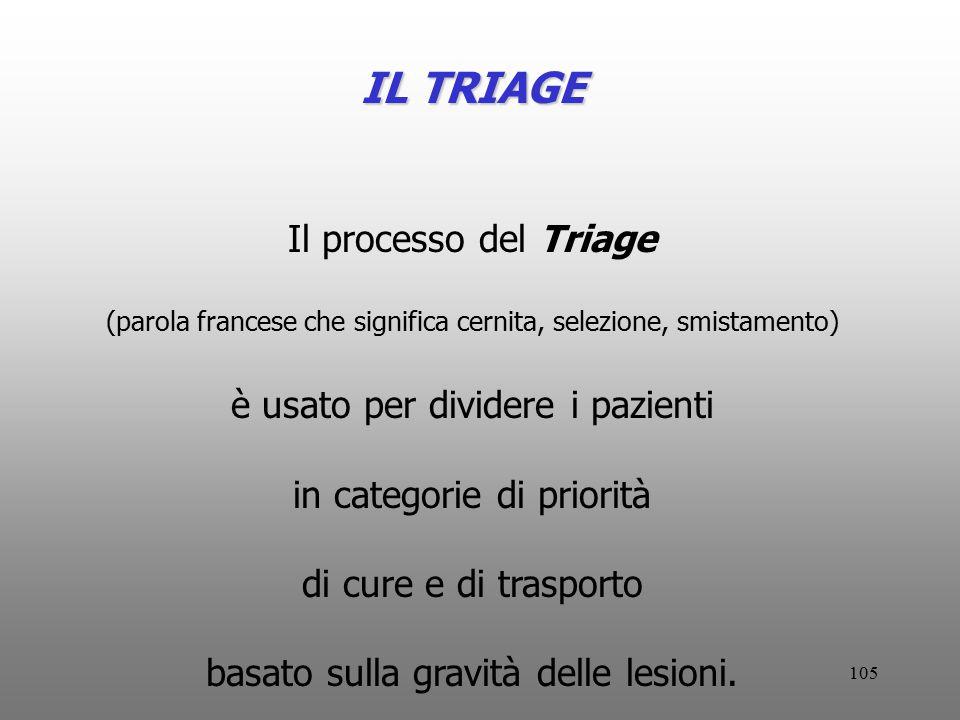 105 IL TRIAGE Il processo del Triage (parola francese che significa cernita, selezione, smistamento) è usato per dividere i pazienti in categorie di p