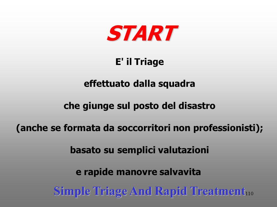 110 START E' il Triage effettuato dalla squadra che giunge sul posto del disastro (anche se formata da soccorritori non professionisti); basato su sem