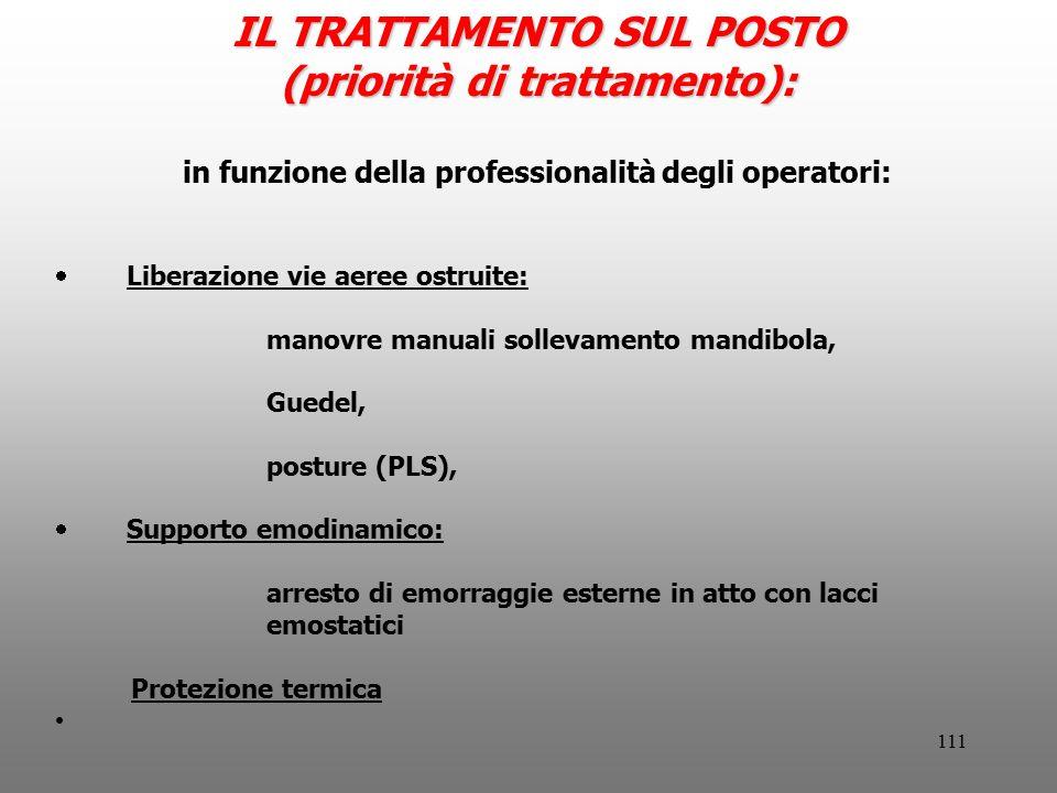 111 IL TRATTAMENTO SUL POSTO (priorità di trattamento): in funzione della professionalità degli operatori:  Liberazione vie aeree ostruite: manovre m