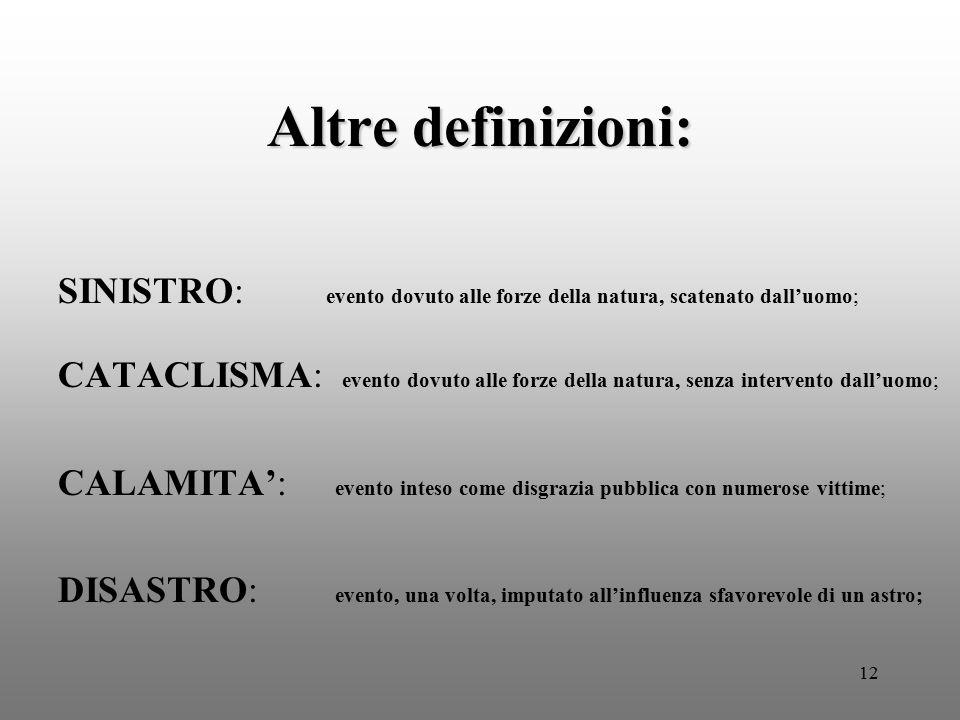 12 Altre definizioni: SINISTRO: evento dovuto alle forze della natura, scatenato dall'uomo; CATACLISMA: evento dovuto alle forze della natura, senza i