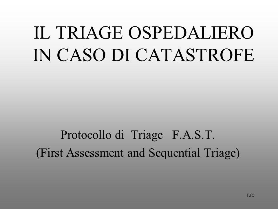 120 IL TRIAGE OSPEDALIERO IN CASO DI CATASTROFE Protocollo di Triage F.A.S.T. (First Assessment and Sequential Triage)