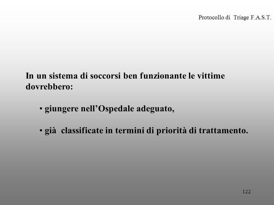 122 Protocollo di Triage F.A.S.T. In un sistema di soccorsi ben funzionante le vittime dovrebbero: giungere nell'Ospedale adeguato, già classificate i