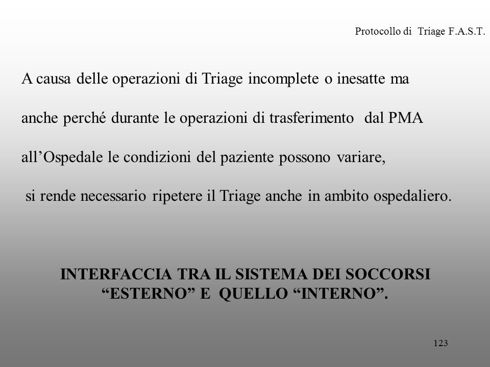 123 Protocollo di Triage F.A.S.T. A causa delle operazioni di Triage incomplete o inesatte ma anche perché durante le operazioni di trasferimento dal