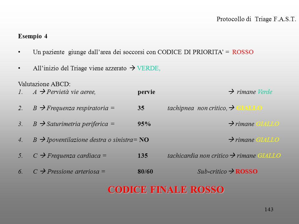 143 Protocollo di Triage F.A.S.T. Esempio 4 Un paziente giunge dall'area dei soccorsi con CODICE DI PRIORITA' = ROSSO All'inizio del Triage viene azze