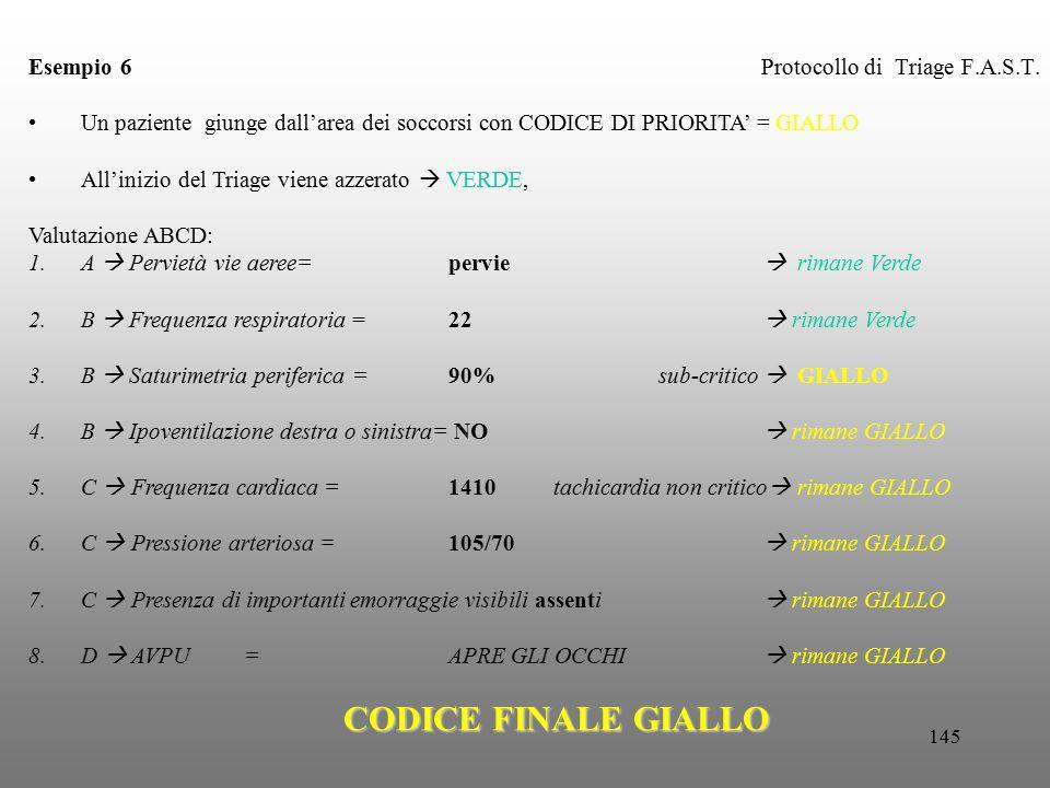 145 Protocollo di Triage F.A.S.T. Esempio 6 Un paziente giunge dall'area dei soccorsi con CODICE DI PRIORITA' = GIALLO All'inizio del Triage viene azz