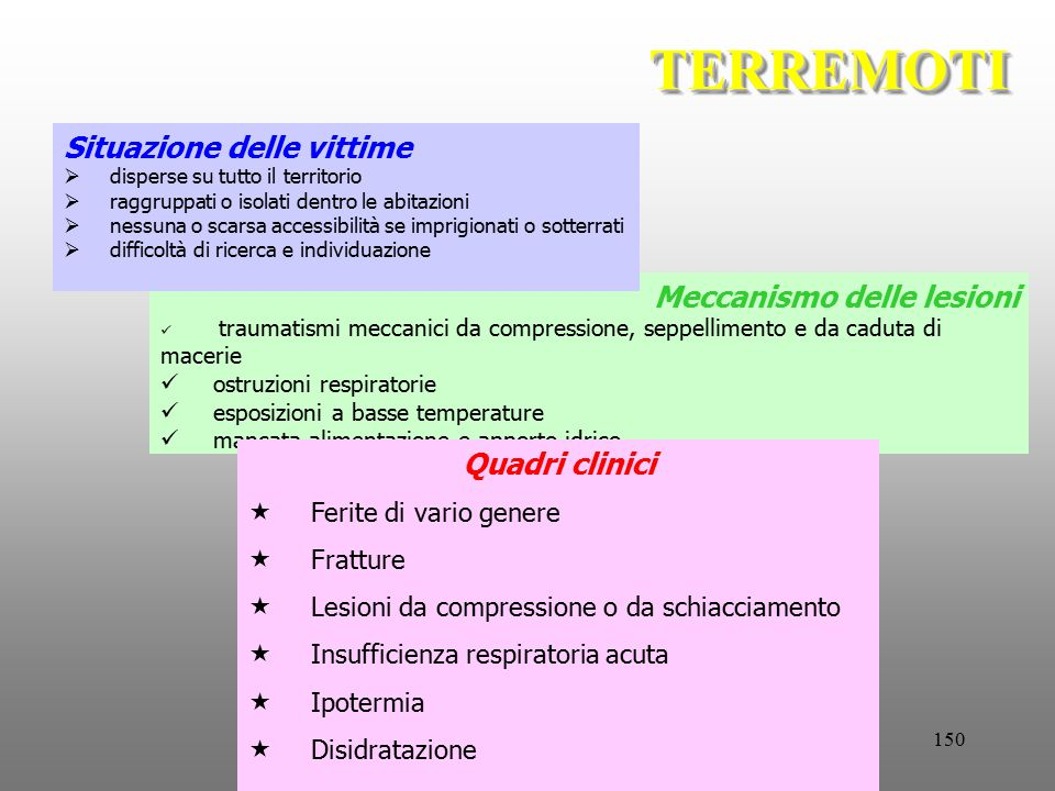 150 Meccanismo delle lesioni traumatismi meccanici da compressione, seppellimento e da caduta di macerie ostruzioni respiratorie esposizioni a basse t