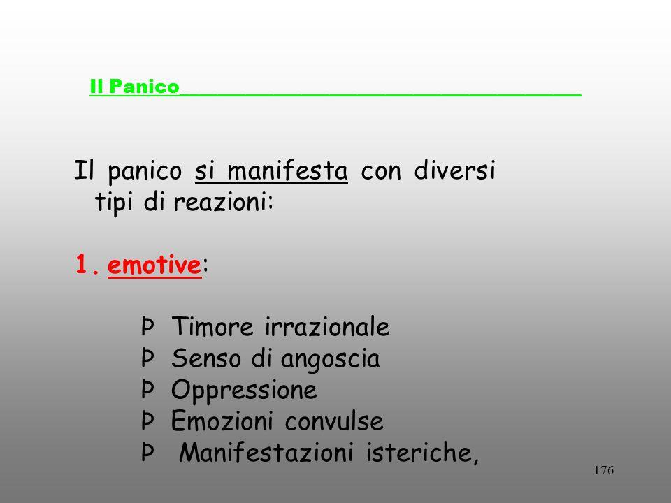 176 Il Panico___________________________________________ Il panico si manifesta con diversi tipi di reazioni: 1.emotive: Þ Timore irrazionale Þ Senso