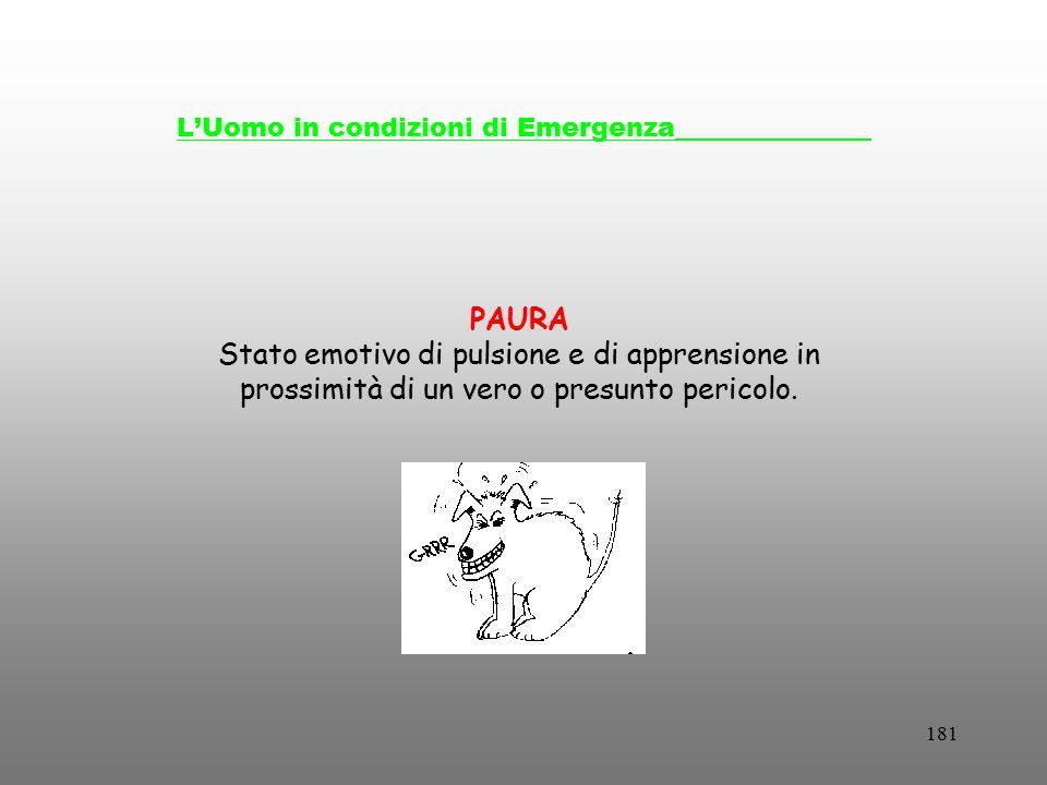 181 L'Uomo in condizioni di Emergenza_______________ PAURA Stato emotivo di pulsione e di apprensione in prossimità di un vero o presunto pericolo.