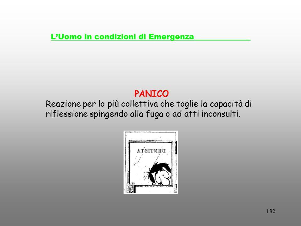 182 L'Uomo in condizioni di Emergenza_______________ PANICO Reazione per lo più collettiva che toglie la capacità di riflessione spingendo alla fuga o