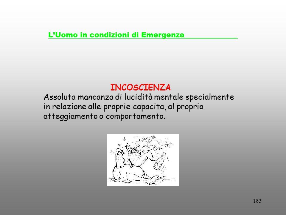 183 L'Uomo in condizioni di Emergenza_______________ INCOSCIENZA Assoluta mancanza di lucidità mentale specialmente in relazione alle proprie capacita