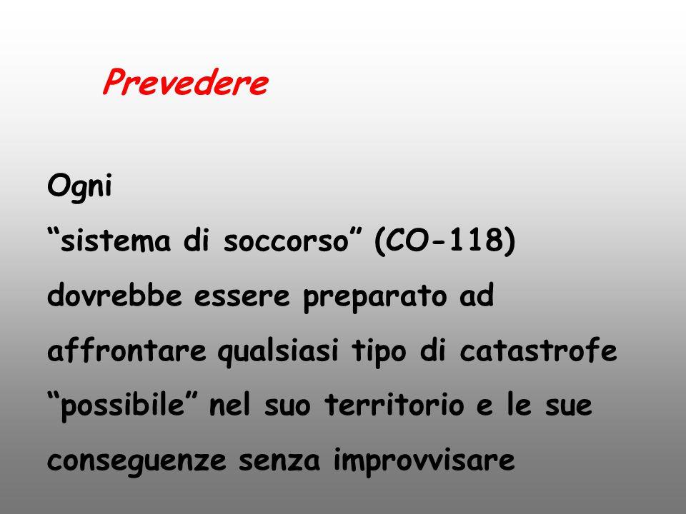 """Prevedere Ogni """"sistema di soccorso"""" (CO-118) dovrebbe essere preparato ad affrontare qualsiasi tipo di catastrofe """"possibile"""" nel suo territorio e le"""