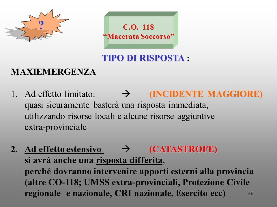 """26 C.O. 118 """"Macerata Soccorso"""" TIPO DI RISPOSTA : ? MAXIEMERGENZA (INCIDENTE MAGGIORE) 1.Ad effetto limitato:  (INCIDENTE MAGGIORE) quasi sicurament"""