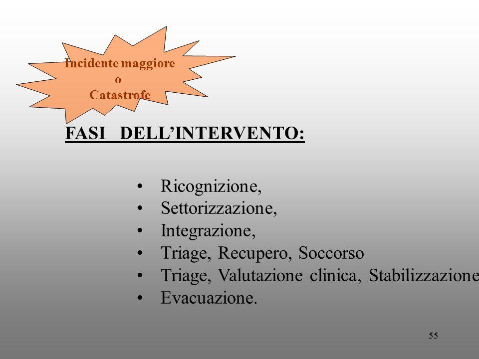 55 Incidente maggiore o Catastrofe FASI DELL'INTERVENTO: Ricognizione, Settorizzazione, Integrazione, Triage, Recupero, Soccorso Triage, Valutazione c