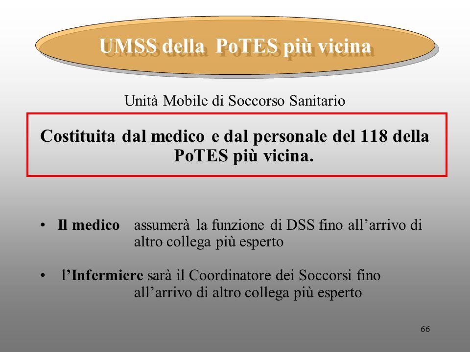 66 Unità Mobile di Soccorso Sanitario Costituita dal medico e dal personale del 118 della PoTES più vicina. Il medico assumerà la funzione di DSS fino