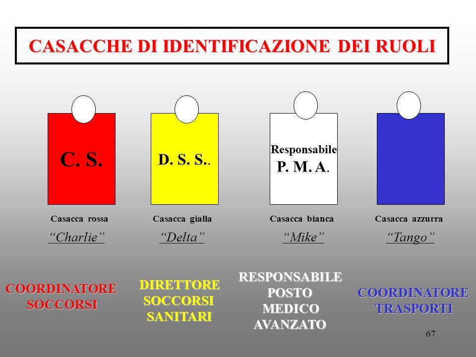 """67 CASACCHE DI IDENTIFICAZIONE DEI RUOLI C. S. D. S. S.. Responsabile P. M. A. """"Delta"""" DIRETTORESOCCORSISANITARI RESPONSABILEPOSTO MEDICO MEDICOAVANZA"""
