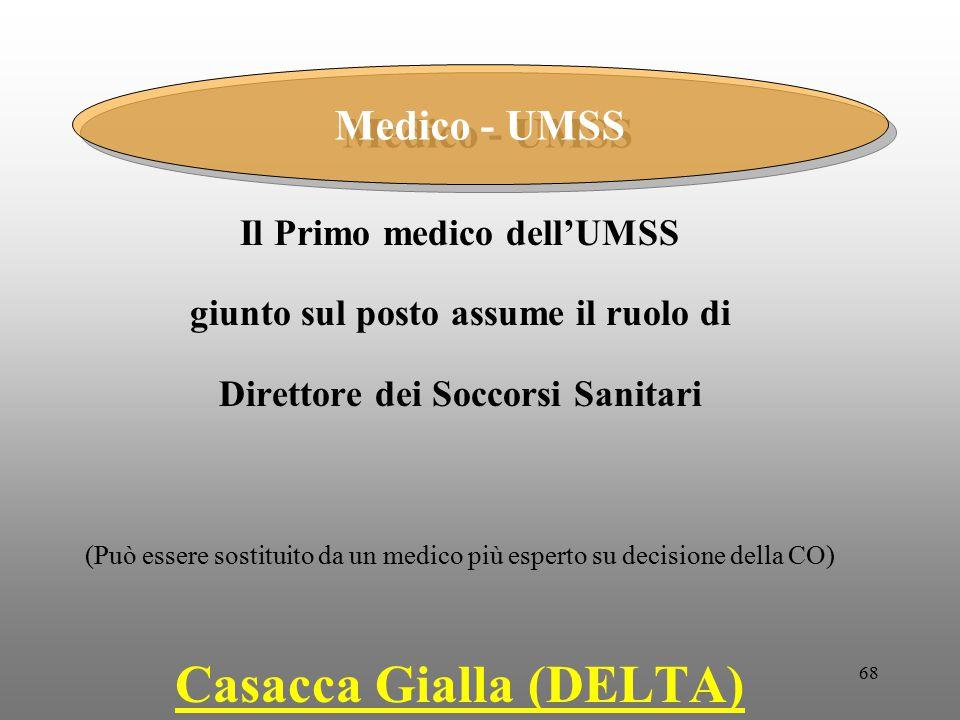 68 Il Primo medico dell'UMSS giunto sul posto assume il ruolo di Direttore dei Soccorsi Sanitari (Può essere sostituito da un medico più esperto su de