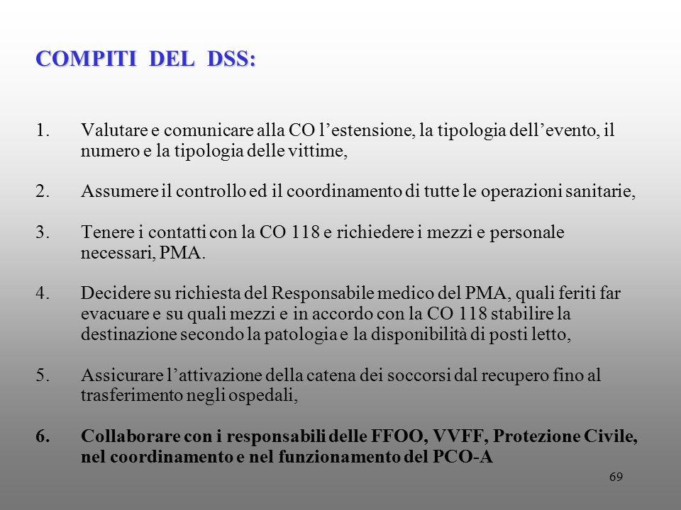 69 COMPITI DEL DSS: 1.Valutare e comunicare alla CO l'estensione, la tipologia dell'evento, il numero e la tipologia delle vittime, 2.Assumere il cont
