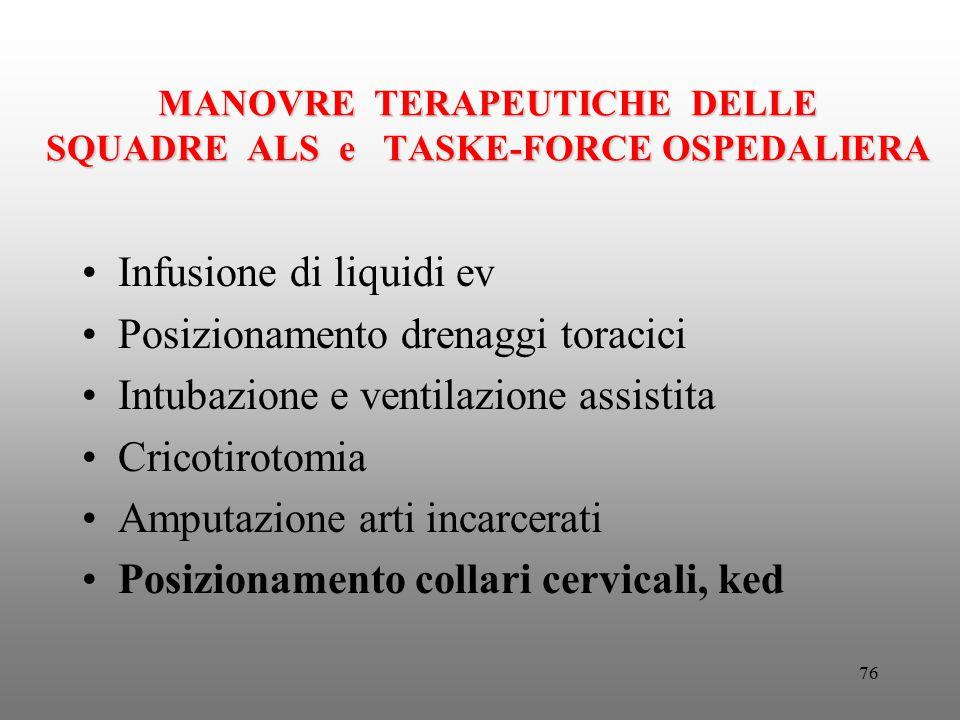 76 MANOVRE TERAPEUTICHE DELLE SQUADRE ALS e TASKE-FORCE OSPEDALIERA Infusione di liquidi ev Posizionamento drenaggi toracici Intubazione e ventilazion