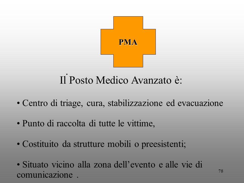78. PMA Il Posto Medico Avanzato è: Centro di triage, cura, stabilizzazione ed evacuazione Punto di raccolta di tutte le vittime, Costituito da strutt