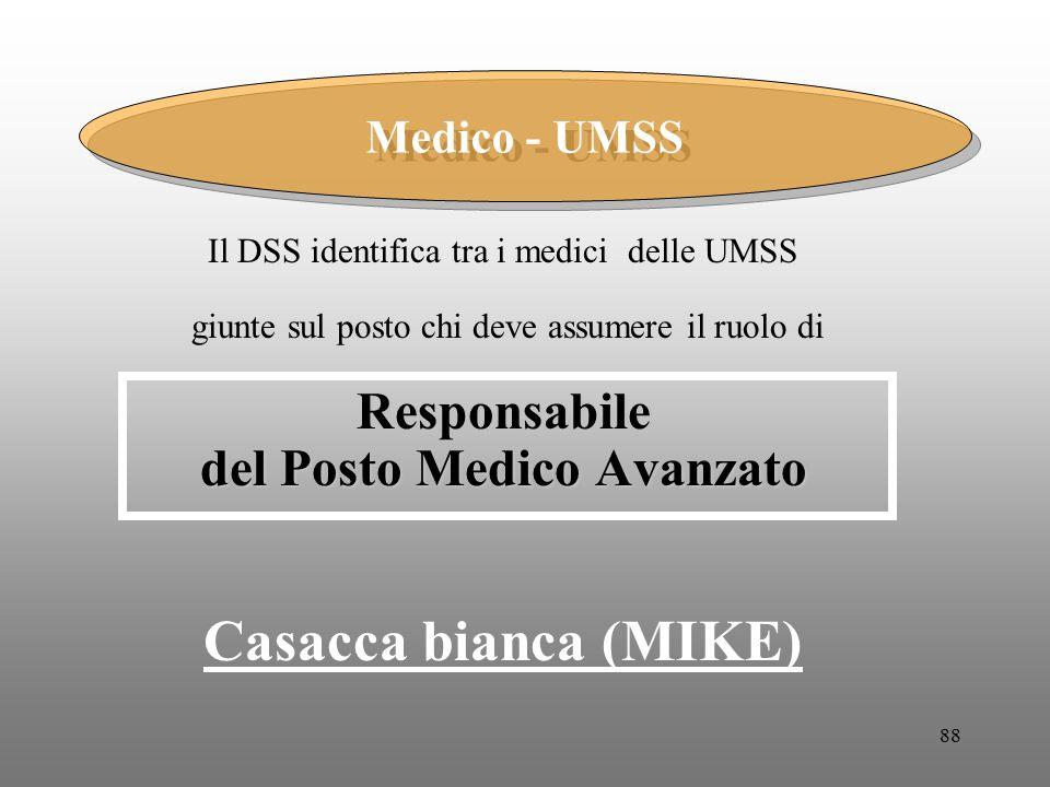 88 Il DSS identifica tra i medici delle UMSS giunte sul posto chi deve assumere il ruolo diResponsabile del Posto Medico Avanzato Casacca bianca (MIKE