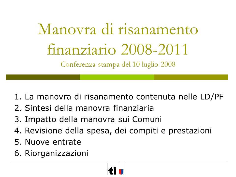 Manovra di risanamento finanziario 2008-2011 Conferenza stampa del 10 luglio 2008 1. La manovra di risanamento contenuta nelle LD/PF 2. Sintesi della