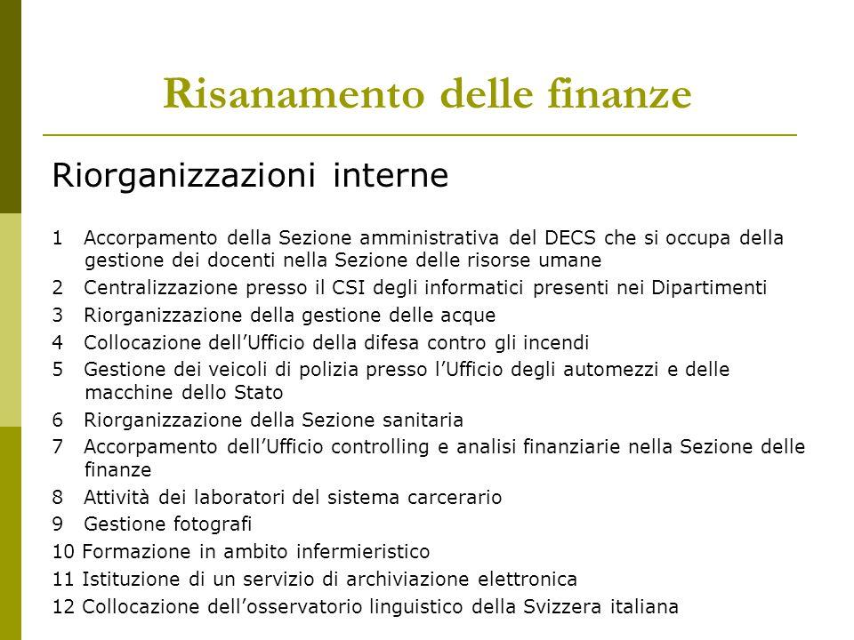 Risanamento delle finanze Riorganizzazioni interne 1 Accorpamento della Sezione amministrativa del DECS che si occupa della gestione dei docenti nella
