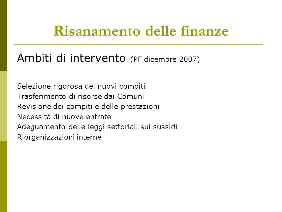 Risanamento delle finanze Ambiti di intervento (PF dicembre 2007) Selezione rigorosa dei nuovi compiti Trasferimento di risorse dai Comuni Revisione d