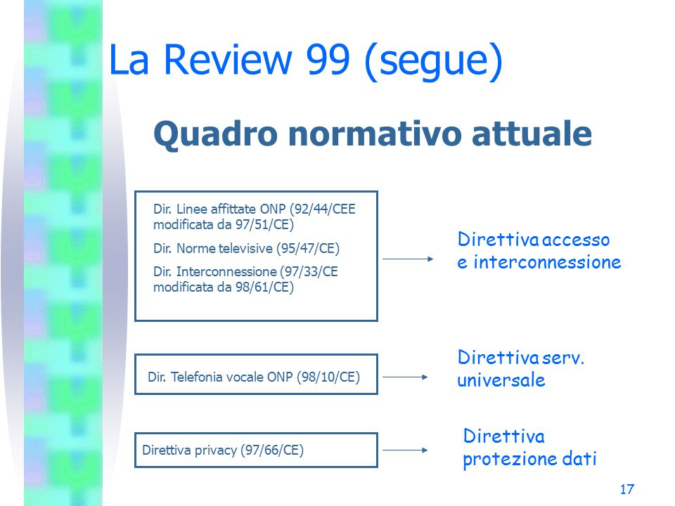17 La Review 99 (segue) Quadro normativo attuale Dir.