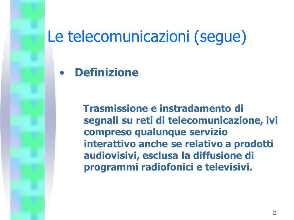 3 Le telecomunicazioni (segue) Differenza rispetto alla radiotelevisione –Trasmissione, via cavo o via etere, nonché trasmissione via satellite, in forma non codificata o codificata, di programmi televisivi destinati al pubblico.