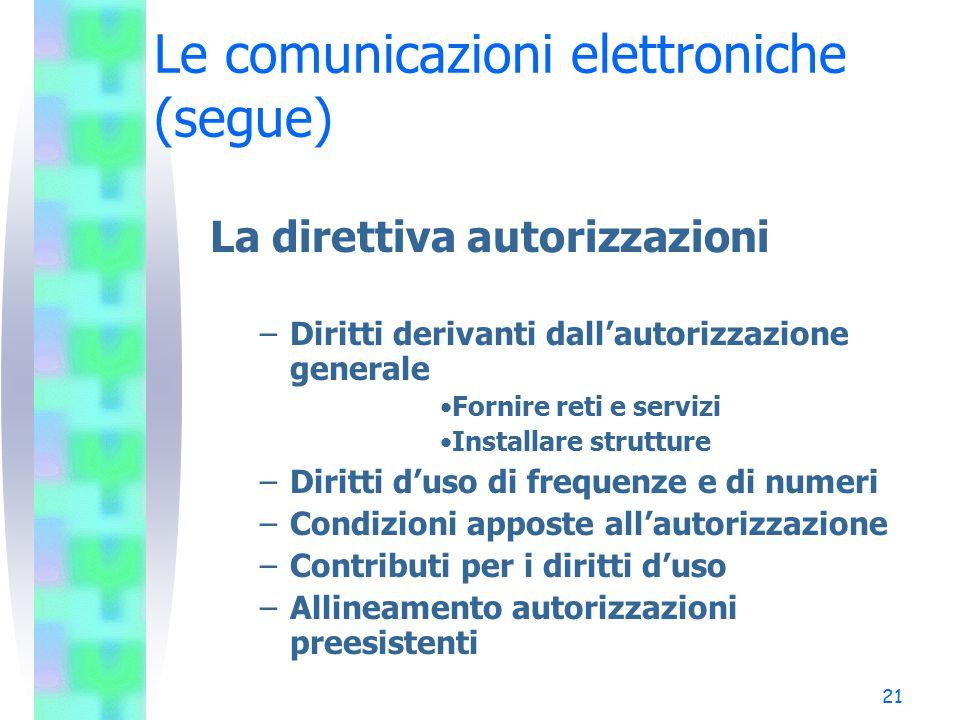 21 Le comunicazioni elettroniche (segue) La direttiva autorizzazioni –Diritti derivanti dall'autorizzazione generale Fornire reti e servizi Installare strutture –Diritti d'uso di frequenze e di numeri –Condizioni apposte all'autorizzazione –Contributi per i diritti d'uso –Allineamento autorizzazioni preesistenti