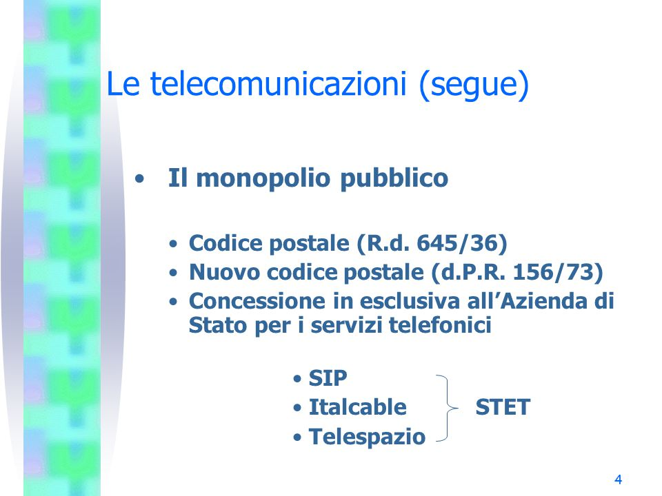 4 Le telecomunicazioni (segue) Il monopolio pubblico Codice postale (R.d.