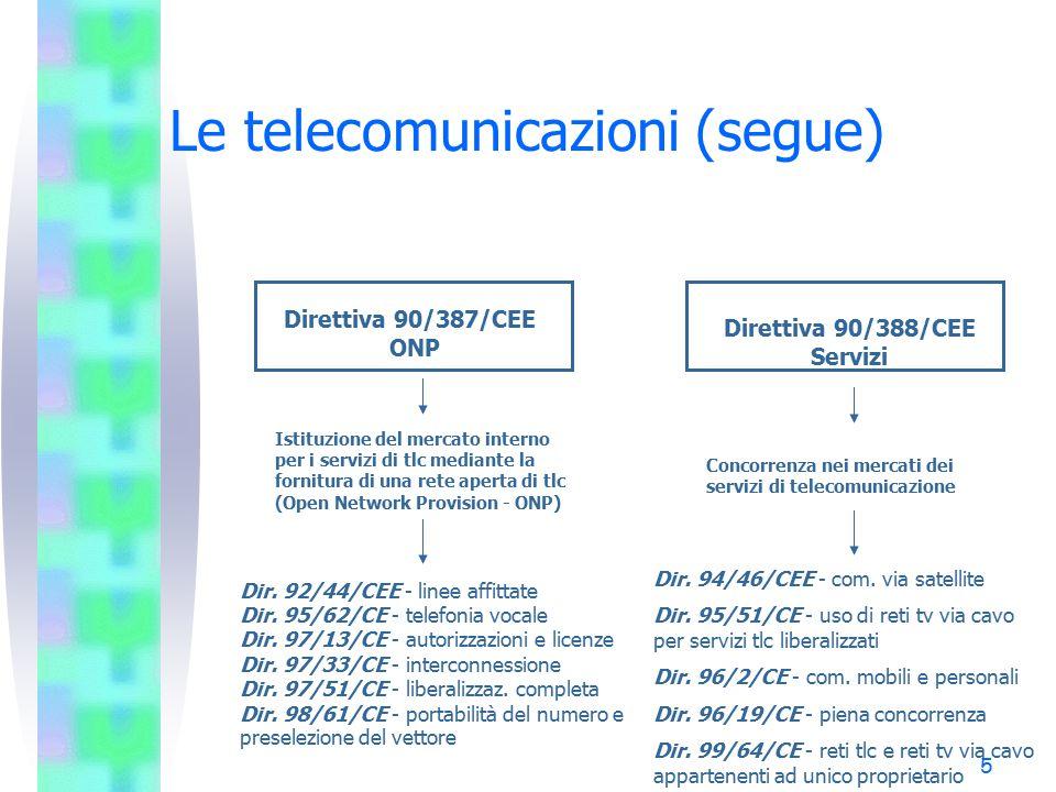 5 Le telecomunicazioni (segue) Istituzione del mercato interno per i servizi di tlc mediante la fornitura di una rete aperta di tlc (Open Network Provision - ONP) Concorrenza nei mercati dei servizi di telecomunicazione Direttiva 90/387/CEE ONP Direttiva 90/388/CEE Servizi Dir.
