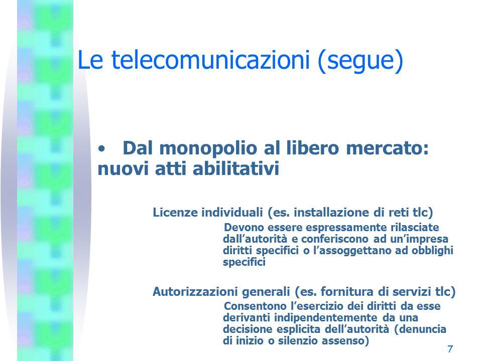 7 Le telecomunicazioni (segue) Dal monopolio al libero mercato: nuovi atti abilitativi Licenze individuali (es.