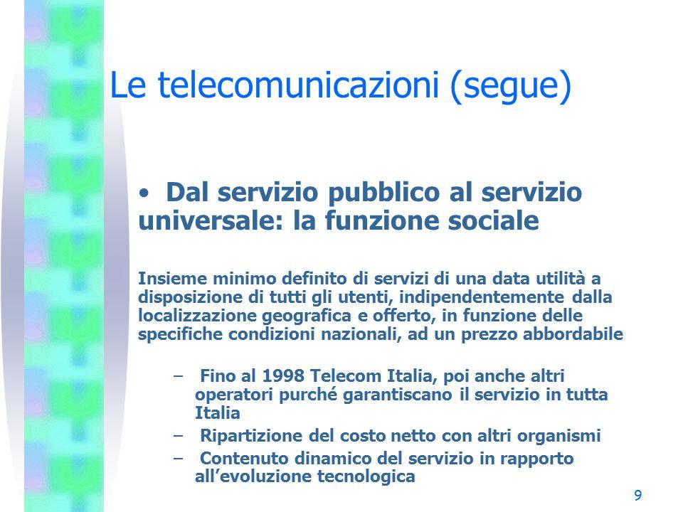 10 Le telecomunicazioni (segue) Richiamo all'evoluzione tecnologica verso la convergenza –Telecomunicazioni, audiovisivo, informatica (e telematica) –Comunicazione via cavo e via etere –Il cavo: dal rame alla banda larga –L'etere: frequenze terrestri e satellitari –Comunicazione analogica e digitale –I canali dell'innovazione: la banda larga Internet la telefonia mobile (verso la 3a generazione)