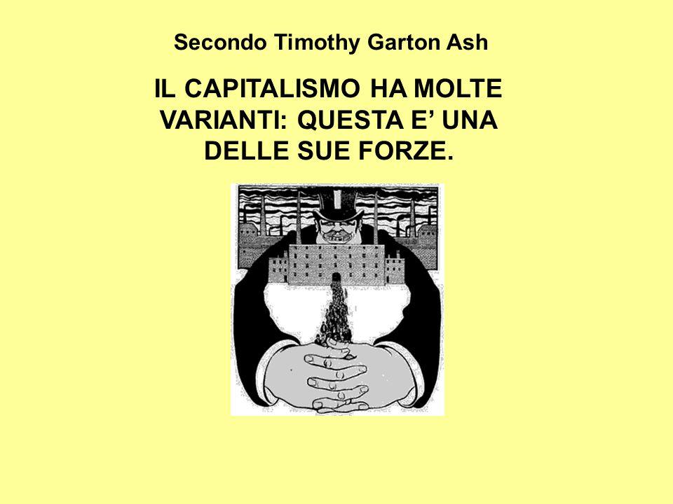 Secondo Timothy Garton Ash IL CAPITALISMO HA MOLTE VARIANTI: QUESTA E' UNA DELLE SUE FORZE.