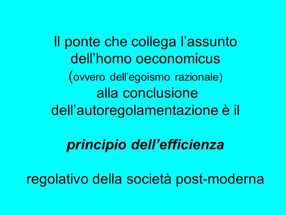 Il ponte che collega l'assunto dell'homo oeconomicus ( ovvero dell'egoismo razionale) alla conclusione dell'autoregolamentazione è il principio dell'efficienza regolativo della società post-moderna
