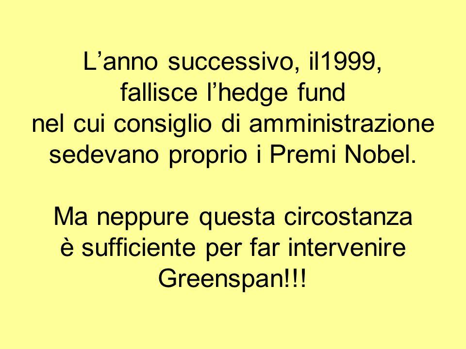 L'anno successivo, il1999, fallisce l'hedge fund nel cui consiglio di amministrazione sedevano proprio i Premi Nobel.