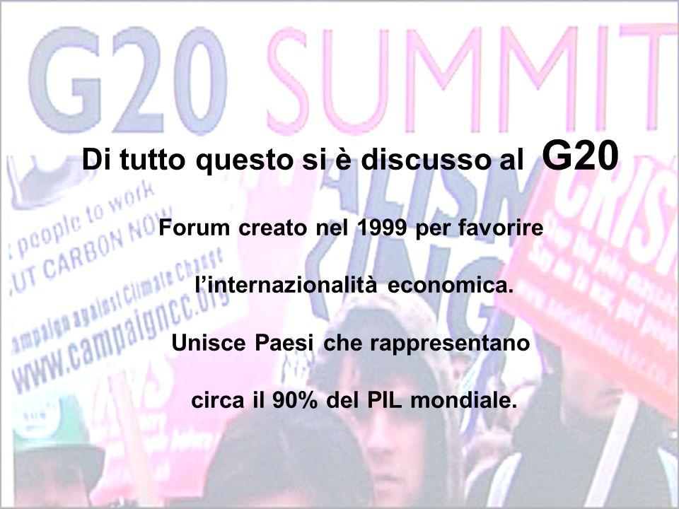 Di tutto questo si è discusso al G20 Forum creato nel 1999 per favorire l'internazionalità economica.