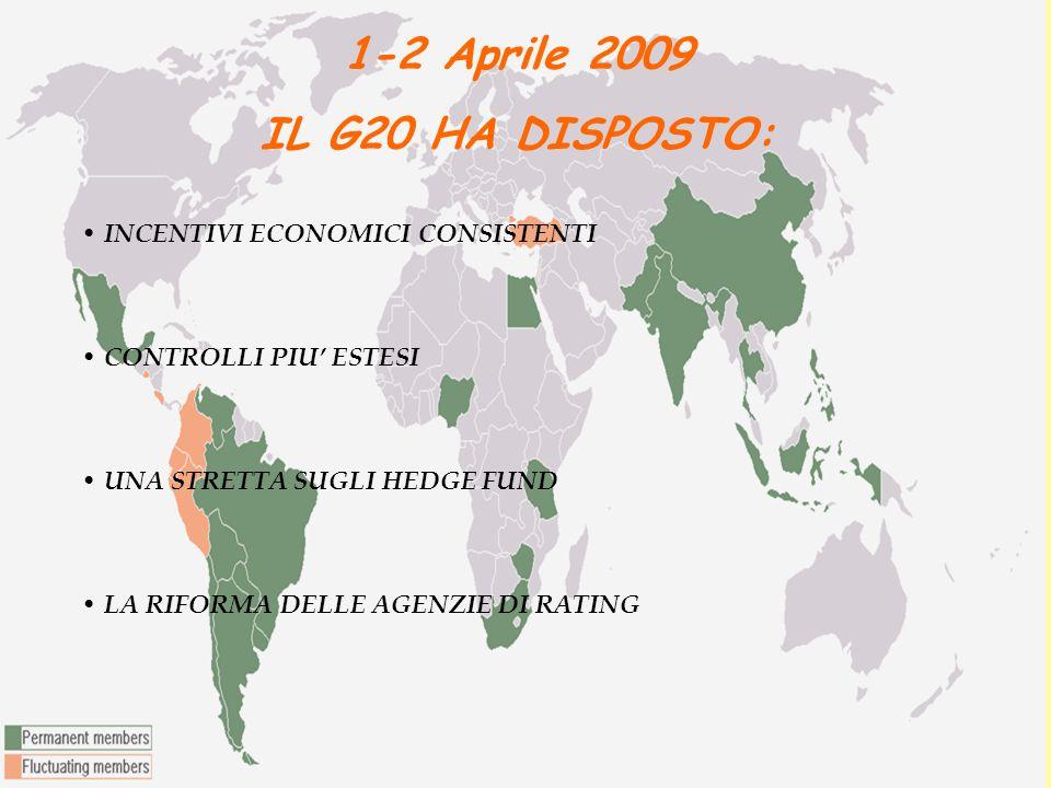 1-2 Aprile 2009 IL G20 HA DISPOSTO: INCENTIVI ECONOMICI CONSISTENTI CONTROLLI PIU' ESTESI UNA STRETTA SUGLI HEDGE FUND LA RIFORMA DELLE AGENZIE DI RATING