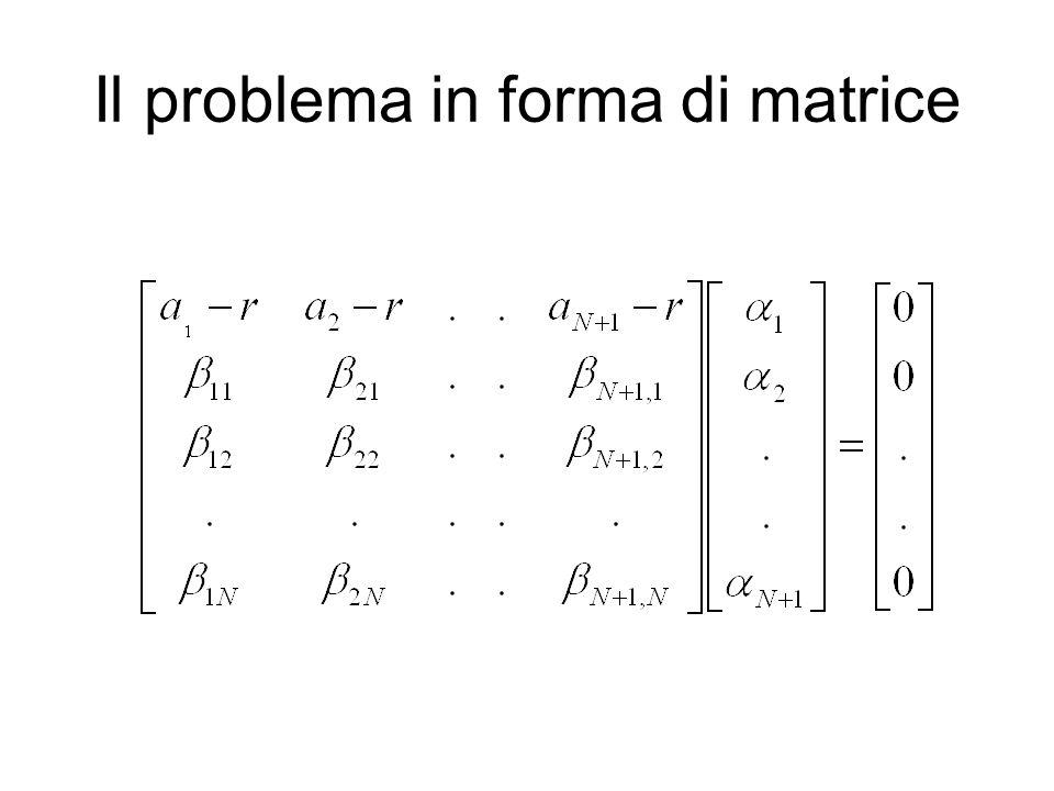 Il problema in forma di matrice