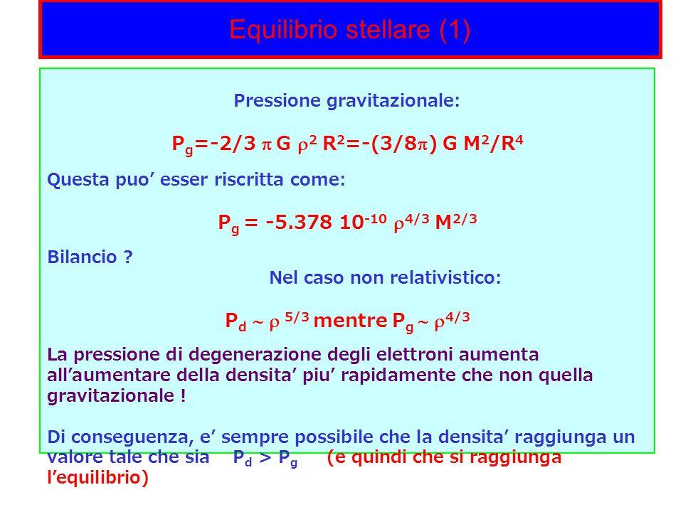 Equilibrio stellare (1) Pressione gravitazionale: P g =-2/3  G  2 R 2 =-(3/8  ) G M 2 /R 4 Questa puo' esser riscritta come: P g = -5.378 10 -10  4/3 M 2/3 Bilancio .