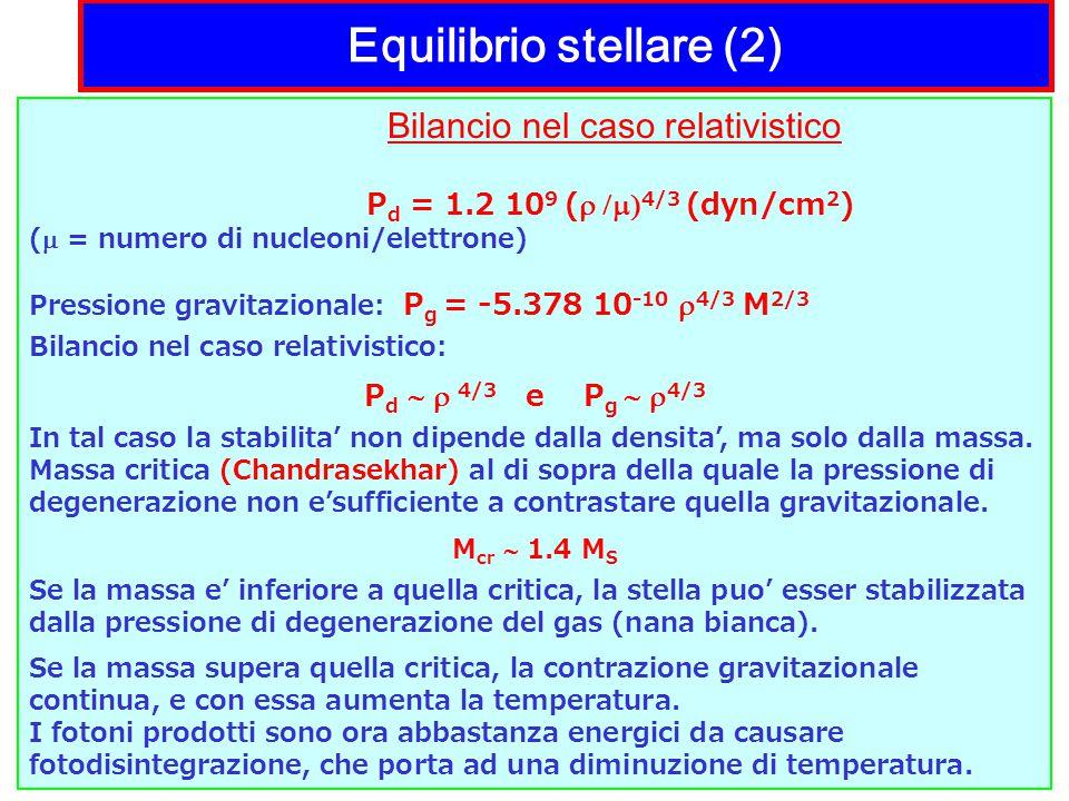 Equilibrio stellare (2) Bilancio nel caso relativistico P d = 1.2 10 9 (  4/3 (dyn/cm 2 ) (  = numero di nucleoni/elettrone) Pressione gravitazionale: P g = -5.378 10 -10  4/3 M 2/3 Bilancio nel caso relativistico: P d   4/3 e P g   4/3 In tal caso la stabilita' non dipende dalla densita', ma solo dalla massa.