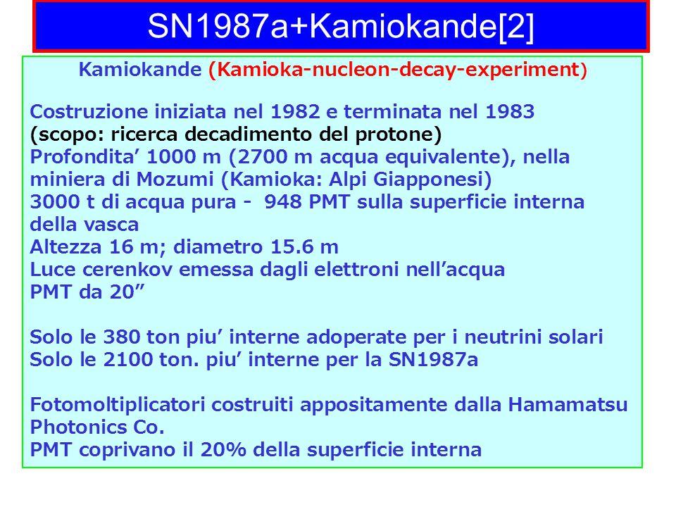SN1987a+Kamiokande[2] Kamiokande (Kamioka-nucleon-decay-experiment ) Costruzione iniziata nel 1982 e terminata nel 1983 (scopo: ricerca decadimento del protone) Profondita' 1000 m (2700 m acqua equivalente), nella miniera di Mozumi (Kamioka: Alpi Giapponesi) 3000 t di acqua pura - 948 PMT sulla superficie interna della vasca Altezza 16 m; diametro 15.6 m Luce cerenkov emessa dagli elettroni nell'acqua PMT da 20 Solo le 380 ton piu' interne adoperate per i neutrini solari Solo le 2100 ton.