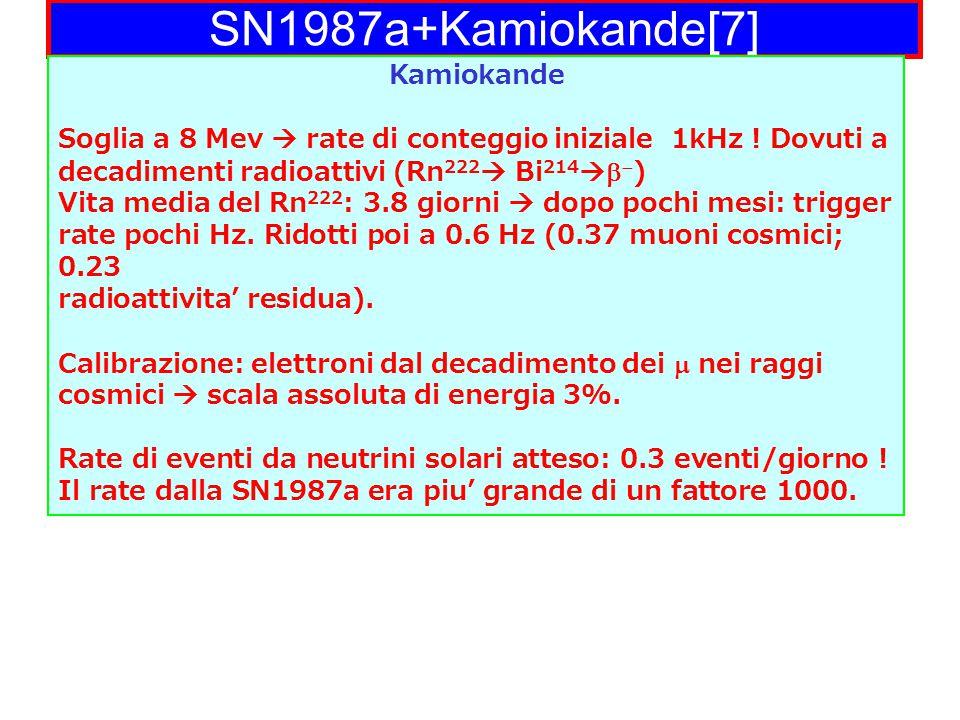 SN1987a+Kamiokande[7] Kamiokande Soglia a 8 Mev  rate di conteggio iniziale 1kHz .