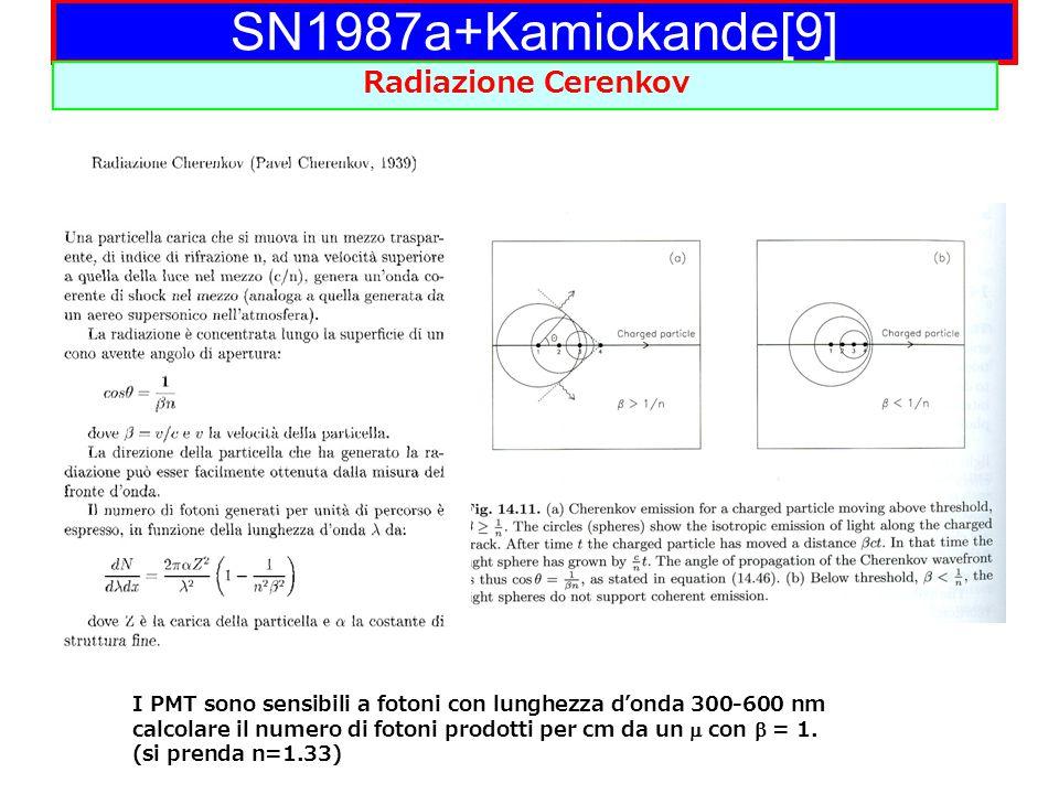 SN1987a+Kamiokande[9] Radiazione Cerenkov I PMT sono sensibili a fotoni con lunghezza d'onda 300-600 nm calcolare il numero di fotoni prodotti per cm da un  con  = 1.