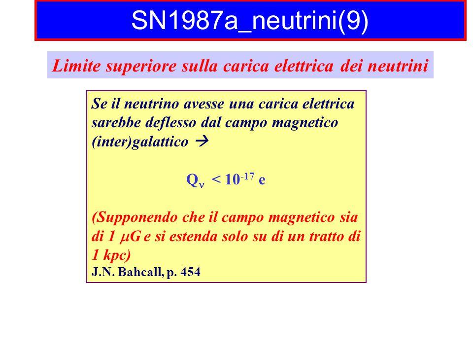 SN1987a_neutrini(9) Limite superiore sulla carica elettrica dei neutrini Se il neutrino avesse una carica elettrica sarebbe deflesso dal campo magnetico (inter)galattico  Q < 10 -17 e (Supponendo che il campo magnetico sia di 1  G e si estenda solo su di un tratto di 1 kpc) J.N.