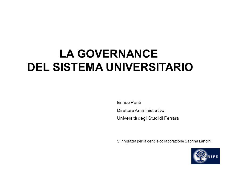 11 LA GOVERNANCE DEL SISTEMA UNIVERSITARIO Enrico Periti Direttore Amministrativo Università degli Studi di Ferrara Si ringrazia per la gentile collab