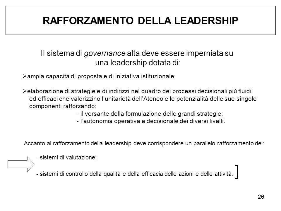 26 RAFFORZAMENTO DELLA LEADERSHIP Il sistema di governance alta deve essere imperniata su una leadership dotata di:  ampia capacità di proposta e di